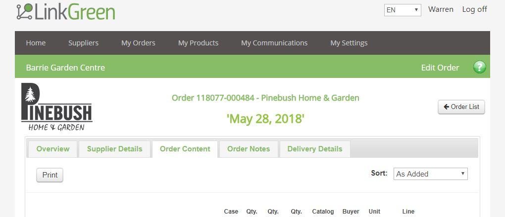 Order overiew screen shot